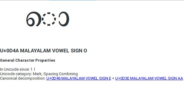 Unicode character propery of O sign.