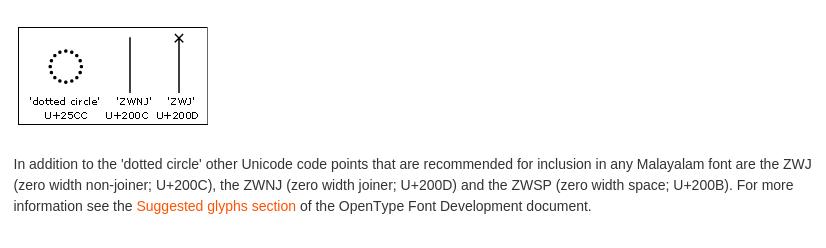 ZWJ യ്ക്കുള്ള ഗ്ലിഫ് റെക്കമെന്റു ചെയ്യുന്ന ഓപ്പണ്ടൈപ് സ്പെസിഫിക്കേഷന്റെ ഭാഗം. http://www.microsoft.com/typography/OpenTypeDev/malayalam/intro.htm#comb