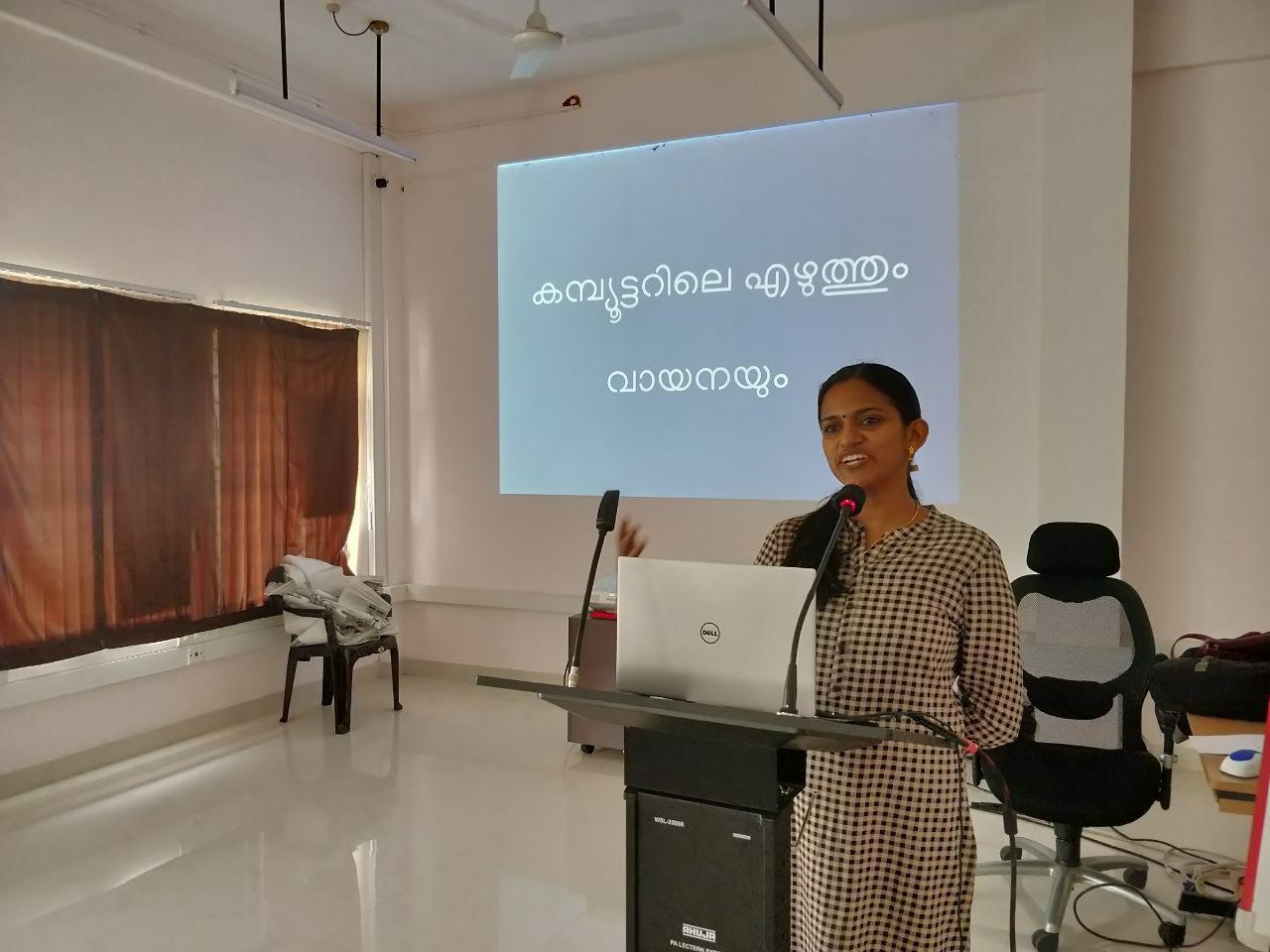Kavya leading Malayalam Computing Session